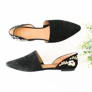 Franco Sarto D'Orsay Black Embroidered Flats sz 10